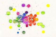New Year 2014. Multicolored watercolor painting New Year 2014 Stock Photo