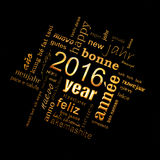 2016 new year multilingual golden text word cloud square greeting card on black. Background royalty free illustration