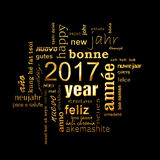 2017 new year multilingual golden text word cloud square greeting card. On black background Royalty Free Stock Photos
