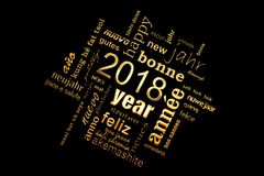 2018 new year multilingual golden text word cloud square greeting card on black Royalty Free Stock Images