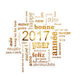 2017 new year multilingual golden text word cloud square greeting card. On white background Royalty Free Stock Images