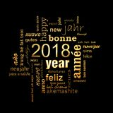2018 new year multilingual golden word cloud square greeting card on black background. 2018 new year multilingual golden text word cloud square greeting card on vector illustration