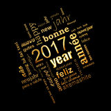 2017 new year multilingual golden word cloud square greeting card on black background. 2017 new year multilingual golden text word cloud square greeting card on Stock Image