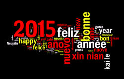 2015 new year multilingual text greeting card Stock Image