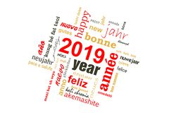 2019 new year multilingual text word cloud greeting card. 2019, new year multilingual text word cloud greeting card stock illustration