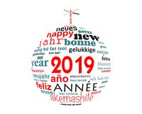 2019 new year multilingual text word cloud greeting card in the shape of a christmas ball. 2019, new year multilingual text word cloud greeting card in the shape royalty free illustration