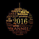 2016 new year multilingual text word cloud greeting card Stock Image
