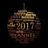 2017 new year multilingual text word cloud greeting card, shape of a christmas ball Royalty Free Stock Image