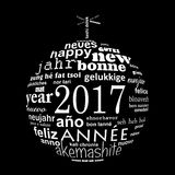 2017 new year multilingual text word cloud greeting card. In the shape of a christmas ball stock illustration