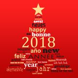 2018 new year multilingual text word cloud greeting card in the shape of a christmas tree. 2018, new year multilingual text word cloud greeting card in the shape stock illustration