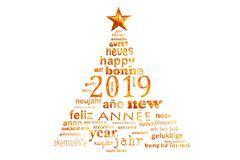 2019 new year multilingual text word cloud greeting card in shape of a christmas tree. 2019 new year multilingual text word cloud greeting card in the shape of a stock illustration
