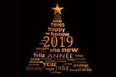 2019 new year multilingual text word cloud greeting card in the shape of a christmas tree royalty free stock photo