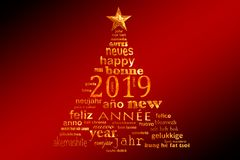 2019 new year multilingual text word cloud greeting card in shape of a christmas tree stock images