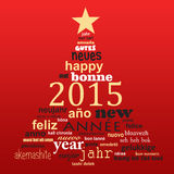 2015 new year multilingual text word cloud greeting card. In the shape of a christmas tree Stock Image