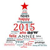 2015 new year multilingual text word cloud greeting card. In the shape of a christmas tree Vector Illustration