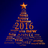 2016 new year multilingual text word cloud greeting card in the shape of a christmas tree. 2016 new year multilingual text word cloud greeting card in the shape Royalty Free Stock Photos