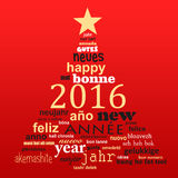 2016 new year multilingual text word cloud greeting card. In the shape of a christmas tree Royalty Free Stock Photos