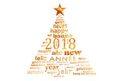 2018 new year multilingual text word cloud greeting card in the shape of a christmas tree. 2018, new year multilingual text word cloud greeting card in the shape royalty free illustration