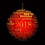 2018 new year multilingual text word cloud greeting card in the shape of a red and golden christmas ball on black. Background vector illustration