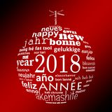 2018 new year multilingual text word cloud greeting card in the shape of a white christmas ball on red Stock Image