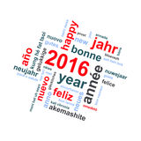 2016 new year multilingual text word cloud greeting card royalty free illustration
