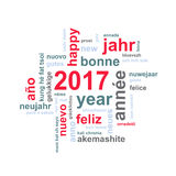 2017 new year multilingual text word cloud greeting card. 2017 new year multilingual text word cloud square greeting card Stock Illustration