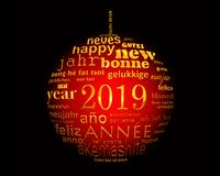 2019 new year multilingual text word cloud in the shape of a christmas ball. 2019, new year multilingual text word cloud in the shape of a christmas ball vector illustration