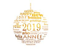 2019 new year multilingual text word cloud in the shape of a christmas ball. 2019, new year multilingual text word cloud in the shape of a christmas ball royalty free illustration