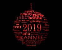 2019 new year multilingual text word cloud in the shape of a christmas ball royalty free stock photography