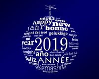 2019 new year multilingual text word cloud in the shape of a christmas ball. 2019, new year multilingual text word cloud in the shape of a christmas ball stock illustration