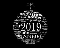 2019 new year multilingual text word cloud in the shape of a christmas ball royalty free illustration
