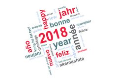 2018 new year multilingual word cloud square greeting card. 2018 new year multilingual text word cloud square greeting card vector illustration