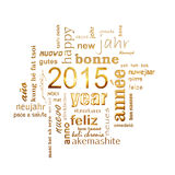 2015 new year multilingual text word cloud square greeting card. 2015 new year multilingual golden text word cloud square greeting card Stock Images