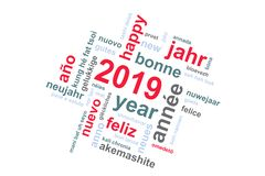 2019 new year multilingual word cloud greeting card. 2019 new year multilingual text word cloud greeting card stock illustration