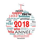 2018 new year multilingual word cloud greeting card in the shape of a christmas ball. 2018 new year multilingual text word cloud greeting card in the shape of a stock illustration