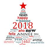 2018 new year multilingual word cloud greeting card in the shape of a christmas tree. 2018 new year multilingual text word cloud greeting card in the shape of a vector illustration