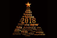 2018 new year multilingual word cloud greeting card in the shape of a christmas tree. 2018 new year multilingual text word cloud greeting card in the shape of a royalty free illustration