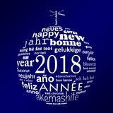 2018 new year multilingual word cloud greeting card in the shape of a white christmas ball on blue background. 2018 new year multilingual text word cloud stock illustration