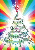 New year music notes. Twisted into spiral Vector Illustration