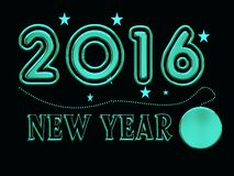 2016, new year with necklace Royalty Free Stock Photography
