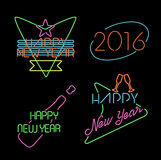 New year neon light set label retro 2016 elements. Happy new year 2016 neon light style label set, retro designs with text and holiday celebration elements Royalty Free Stock Photography
