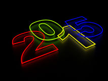 New Year 2015 neon lights Stock Photography