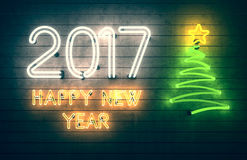New Year 2017. Neon shapes with lights. Stock Photography