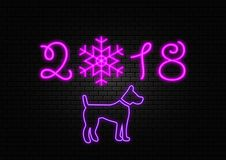 New year 2018 neon sign. Vector background Stock Photo