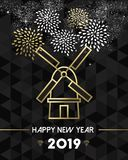 New Year 2019 netherlands windmill travel gold stock illustration