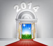 New Year New Dawn Door 2014. A conceptual illustration of a New Year 2014 door entrance opening onto a field of lush green grass. Concept for a happy future, or Stock Illustration