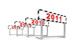 New Year - new hurdle. New Year concept. Isolated on white Royalty Free Stock Images