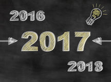 New year, new idea. Chalkboard with years 2016 2017 2018 and light bulb Stock Image