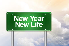 New Year New Life green road sign. Concept vector illustration