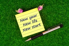 New year new life new start. In sticky note with pen and dried rose buds on grass royalty free stock photos
